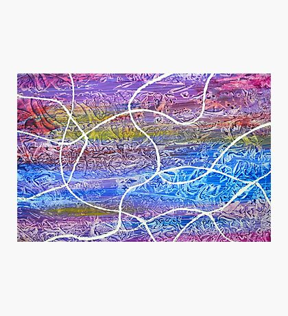 Abstract Entangled on yupo paper blue pink yellow Photographic Print