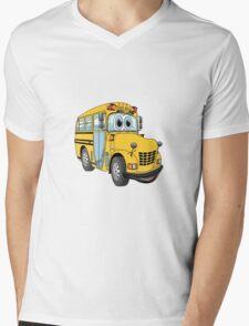 School Bus Cartoon Mens V-Neck T-Shirt
