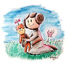 Princess Leia and Wookiee Doll Chewbacca STAR WARS fan art by wimpy