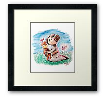 Princess Leia and Wookiee Doll Chewbacca STAR WARS fan art Framed Print