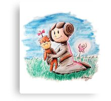 Princess Leia and Wookiee Doll Chewbacca STAR WARS fan art Canvas Print