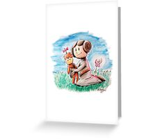 Princess Leia and Wookiee Doll Chewbacca STAR WARS fan art Greeting Card