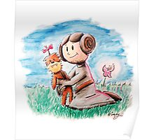 Princess Leia and Wookiee Doll Chewbacca STAR WARS fan art Poster