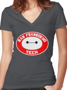 San Fransokyo Institute of Tech Women's Fitted V-Neck T-Shirt