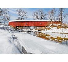 Snowy Oakalla Covered Bridge Photographic Print