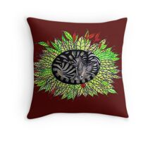 Tabby leaves Throw Pillow