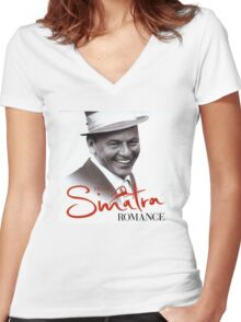 Frank Sinatra Romance Women's Fitted V-Neck T-Shirt
