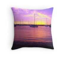 Purple Boats Throw Pillow