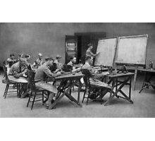 United States Signal Corps CLASS IN TELEPHONY - NLISTED MEN, U. S. ARMY The province of the telephone in modern warfare is constantly broadening 1917 Photographic Print