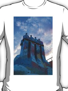 Sunset Colored Chimneys - Impressions Of Barcelona T-Shirt