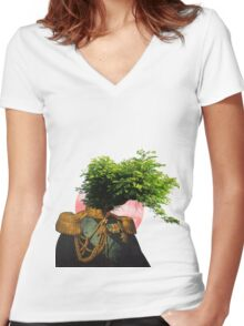 TREE MAN. Women's Fitted V-Neck T-Shirt