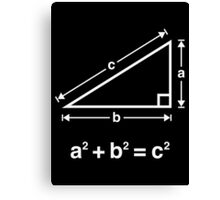 Pythagorean Theorem (Mathematics / White) Canvas Print