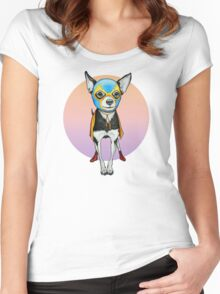 Luchador Chihuahua Dog Women's Fitted Scoop T-Shirt
