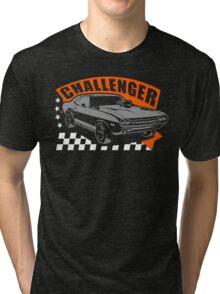 Dodge Challenger | Grey - Orange - White Tri-blend T-Shirt