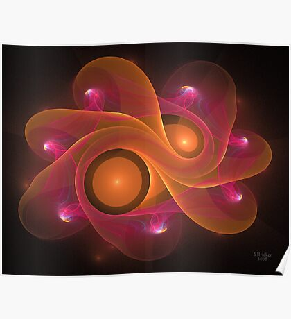 'Light Flame Abstract 171BLK' Poster