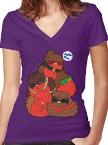 Go!Robins! - A pile of Robins Women's Fitted V-Neck T-Shirt