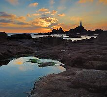 Corbiere Lighthouse Sunset by Mark Bowden