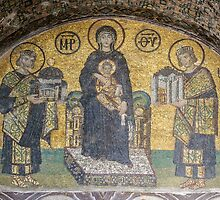 Virgin and Child flanked by Justinian I and Constantine mosaics inside Hagia Sophia, Istanbul (Constantinople) by Adam Asar