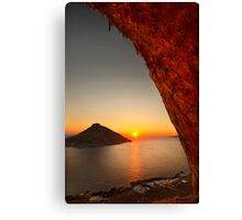 Sunset at the Grande Grotta - Kalymnos island Canvas Print