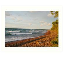 Sunset Bay Rock Beach Art Print