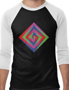 Angled Color Spiral Men's Baseball ¾ T-Shirt