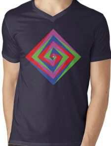 Angled Color Spiral Mens V-Neck T-Shirt