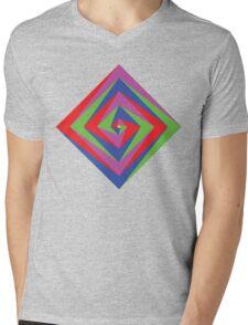 Angled Color Spiral Mens V-Neck T-Shirt