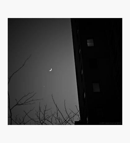 Moon Over Manhattan BW Photographic Print
