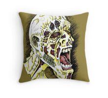 Screaming Zombie - Colourised Throw Pillow