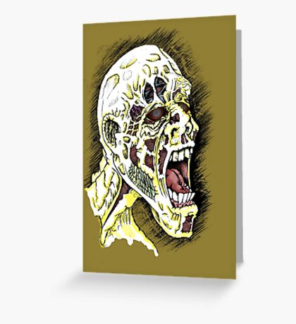 Screaming Zombie - Colourised Greeting Card