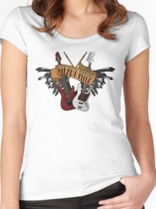 The Music Pitch... Rock'n'Roll and let your guitar, bass and drums rock! (Clear version) Women's Fitted Scoop T-Shirt