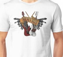 The Music Pitch... Rock'n'Roll and let your guitar, bass and drums rock! (Clear version) Unisex T-Shirt