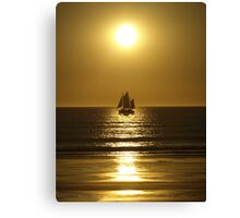 Golden Silhouette of a Pearl Lugger - Cable Beach Canvas Print