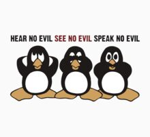 Three Wise Penguins Design Graphic T-Shirt