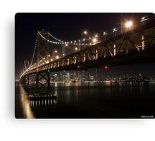 SF Skyline and the Bay Bridge by Night Canvas Print