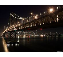 SF Skyline and the Bay Bridge by Night Photographic Print
