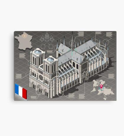 Isometric Infographic Notre Dame de Paris Canvas Print