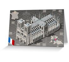 Isometric Infographic Notre Dame de Paris Greeting Card