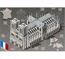 Isometric Infographic Notre Dame de Paris Photographic Print