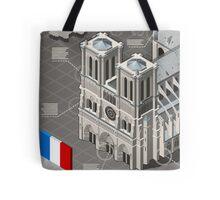 Isometric Infographic Notre Dame de Paris Tote Bag