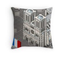 Isometric Infographic Notre Dame de Paris Throw Pillow