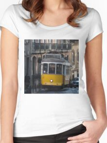 Yellow tram, Lisbon, Portugal Women's Fitted Scoop T-Shirt