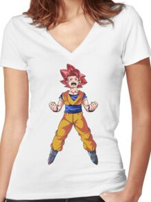 Super Saiyan God Goku Women's Fitted V-Neck T-Shirt
