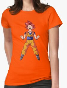 Super Saiyan God Goku Womens Fitted T-Shirt