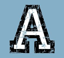 Letter A (Distressed) two-color black/white character by theshirtshops