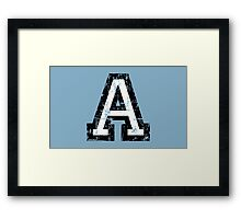 Letter A (Distressed) two-color black/white character Framed Print