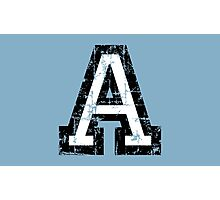 Letter A (Distressed) two-color black/white character Photographic Print