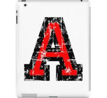 Letter A (Distressed) two-color black/red character iPad Case/Skin