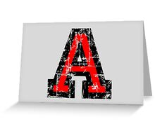 Letter A (Distressed) two-color black/red character Greeting Card
