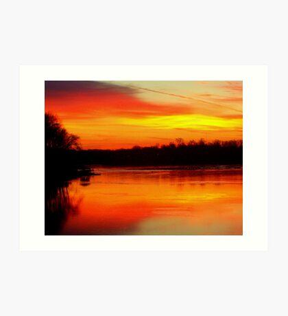 Frozen Lake Sunset Art Print